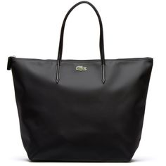 Lacoste L.12.12 CONCEPT TRAVEL ZIP TOTE (775 DKK) ❤ liked on Polyvore featuring bags, handbags, tote bags, black, leather goods leather goods, leather handbags, zip top tote, travel totes, black purse and zippered tote bag