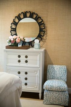 Bedroom Details | Amy Berry Design girls room Brunschwig Les Touches slipper chair bedroom