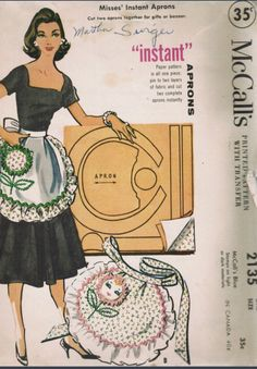Retro Embroidery Patterns Vintage McCalls Sewing Pattern 2135 Instant Flower Face Apron Fits All - Sewing Aprons, Mccalls Sewing Patterns, Vintage Sewing Patterns, Half Apron Patterns, Vintage Apron Pattern, Dress Patterns, Print Patterns, Vintage Embroidery, Embroidery Patterns