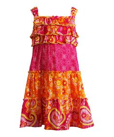 Another great find on #zulily! Fuchsia & Orange Floral Tiered Dress - Infant & Toddler by Youngland #zulilyfinds
