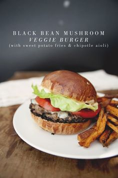Black Bean Mushroom Veggie Burger with Sweet Potato Fries & Garlic Aioli