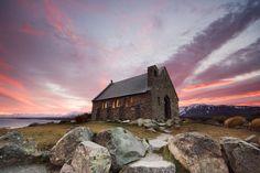 Church of the Good Shepherd-Lake Tekapo-South Island, New Zealand- Sunrise Good Shepard, The Good Shepherd, Sunrise Lake, Lake Tekapo, Visit New Zealand, New Zealand South Island, Places Of Interest, Place Of Worship, Beautiful Sky