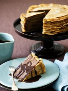 crepe cake...imagining it with a cream cheese filling and chocolate sauce. Best birthday cake ideas and birthday cake recipes. Best birthday cakes on Pinterest! #47straight #cakes