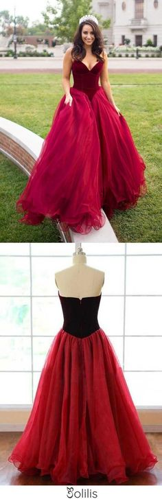 Strapless A-line Long V-Neck Tulle Burgundy Sleeveless Floor-Length Prom Dresses JS269, This dress could be custom made, there are no extra cost to do custom size and color Split Prom Dresses, Simple Bridesmaid Dresses, Pink Prom Dresses, Backless Prom Dresses, A Line Prom Dresses, Beautiful Prom Dresses, Prom Dresses Online, Mermaid Prom Dresses, Quinceanera Dresses