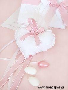Μπομπονιέρα βάπτισης καρδιά λευκή ροζ Craft