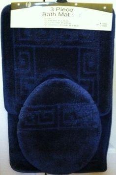 $24.99 3 Piece Navy + Blue Patchwork Design Bathroom Rug/mat, Contour & Lid Cover Set  From Home Fashion