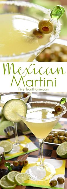 Mexican Martini ~ like a margarita on the rocks with a splash of olive juice, this Mexican Martini is a copycat recipe of the famous cocktail from Trudy's in Austin | FiveHeartHome.com