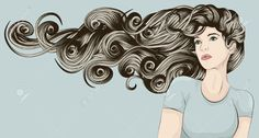 hair blowing in the wind drawing curly - Google Search