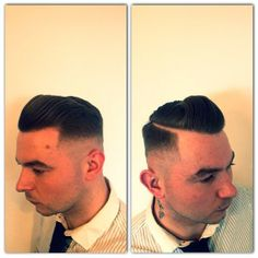 Men's hair - #quiff,  #faded, #barber, #barbering, #sidepart, #skinfade - by Ryan Bartlett Hair