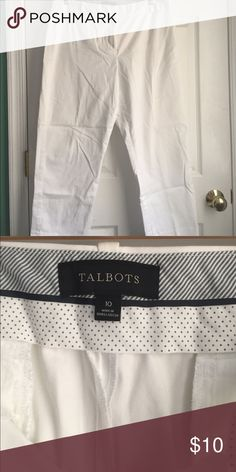 Used Talbots White Cropped Curvy Pants Size 10 White size 10. Used with a few small very light stains. Cropped pants. K apr Talbots Pants Capris