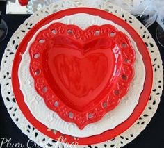 red heart plates, pierced white charger plate