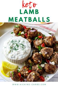 You are going to love these Keto Lamb Meatball Recipe! It is so easy to make, and you can use ground lamb or a combination of ground lamb and beef. This gluten-free recipe is perfect served with Greek tzatziki sauce or on low carb gyros. Pizza Joint, Lamb Meatballs, Keto Lunch Ideas, Ground Lamb, Tzatziki Sauce, Dinners, Meals, Perfect Food, Keto Dinner