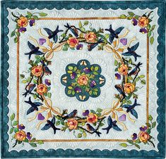 Bluebirds in Paradise by Mariya Waters of Melbourne, Victoria, Australia. 3rd Place Miniature Quilts, 2009 Paducah AQS Quilt Contest