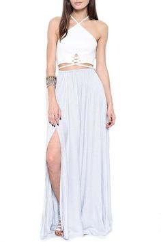 Blonde braids, tan skin and cutouts. Essie Strappy Open Back Maxi Dress - Grey Pretty Outfits, Cute Outfits, Pretty Clothes, Open Back Maxi Dress, Warm Weather Outfits, Red Carpet Dresses, Daily Fashion, Dress To Impress, Dress Skirt