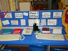 The office very popular with the boys lots of writing opportunities Play Based Learning, Learning Through Play, Learning Centers, Dramatic Play Area, Dramatic Play Centers, Preschool Classroom, In Kindergarten, Classroom Ideas, Reception Class