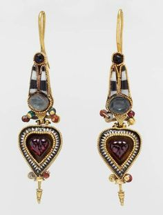 Ancient Egyptian earrings in the shape of an Atef crown, circa 2nd-3rd century BC