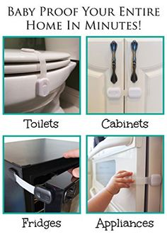 Child Safety Locks | For Baby Proofing Cabinets, Drawers, Appliances, Toilet Seat, Fridge, Oven and more | No Drilling | Uses 3M Adhesive with Adjustable Strap and Latch System (6 Pack, White)