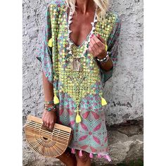 b5417b11da Embroidery/Print 1/2 Sleeves Shift Above Knee Casual/Boho Dresses Cover Up