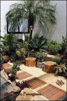 Meditterrean garden landscaping Paisagismo do jardim Meditterrean Terrace Garden, Indoor Garden, Outdoor Gardens, Home And Garden, Balcony Gardening, Bali Garden, Gardening Tips, Pergola Design, Diy Pergola