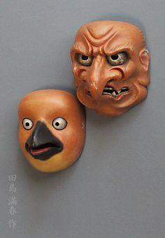 """鳶(とび)と祭り大獅子(田島滿春作) Noumen """"Tobi"""" and """"Matsuri Ojishi"""" by Tajima Mitsuharu Japanese Noh Mask, Mask Design, Artworks, Memes, Artist, Masks, Meme, Artists, Art Pieces"""