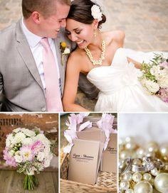 Pink and yellow wedding with pearls - http://katelynjamesblog.com