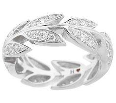 Cute!  Hidalgo Diamonique Sterling Grape Leaves Eternity Ring