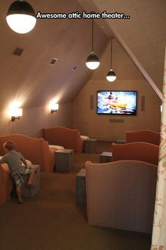 Awesome Basement Home Theater Design Ideas - Luxury Interiors media room in. Awesome Basement Home Theater Design Ideas – Luxury Interiors media room in the attic // sma Attic Rooms, Attic Spaces, Attic Bathroom, Attic Apartment, Apartment Therapy, Attic Playroom, Tv Rooms, Small Spaces, Apartment Interior