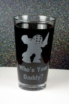 Bioshock Inspired Big Daddy Beer Pint Glass by GlassBlastedArt, $15.00