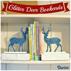 Reversible Glitter Deer DIY Bookends