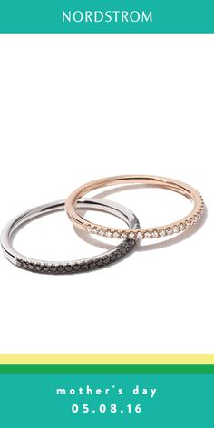 Pave diamonds add sparkle to this stackable ring from Bony Levy.  A  perfect gift for Mother's Day.