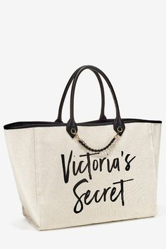 Shop Women's PINK Victoria's Secret Tan Cream size OS Totes at a discounted price at Poshmark. Description: Victorias Secret Tote Canvas White Gold Chain Leather Black Handle dimension: x x Sold by Fast delivery, full service customer support. Victoria Secrets, Victoria Secret Bags, Luggage Brands, Cute Tote Bags, Designer Backpacks, Leather Chain, Womens Tote Bags, Pink Ladies, Totes