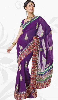 Dark Purple Designer Georgette Party Wear Saree with Embroidery- beautiful