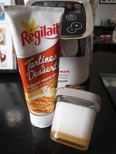 pour 12 pots 250 gr de mascarpone 1 litre de lait entier 3 cas de sucre 1 sachet de ferment (ou 1 yaourt) caramel beurre salé régilait - Mélanger le mascarpone avec le lait , ajouter le ferment puis le sucre - Disposer dans le fond de chaque pot du caramel...