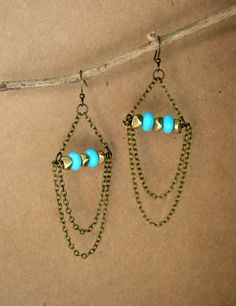 Turquoise, Brass and Antique Silver Chandelier Dangle Earrings