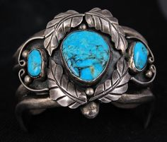 HEAVY Old Pawn Vintage Navajo Sterling Turquoise Ornate & Sand Cast Bracelet