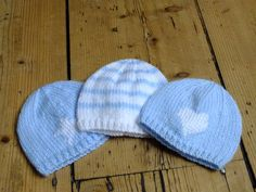 Premature Baby Hat: Blue and white stripe knitted beanie for tiny baby