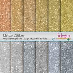 Metallic Glitters, Digital Paper, Scrapbook, Paper, 12x12, Printable, Glitter, Lighting, Pattern,Twinkle, Texture,Sparkle,Winter,Background, by Selegan on Etsy