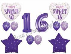 PURPLE 16TH Sixteenth Birthday Party Balloons Decoration Supplies Sweet Girl #Anagram #BirthdayChild