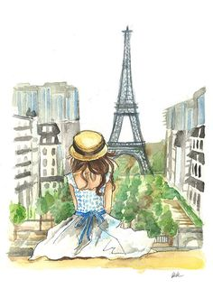 Paris Eiffel Tower Fashion Painting in Watercolor and Ink by BK Designs - www.beccakitchens.com.  Also available in giclee prints.
