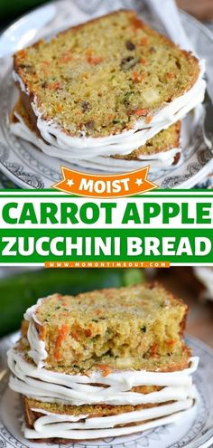This Carrot Apple Zucchini Bread is an easy summer recipe filled with vibrant colors and incredible flavors from carrots, apples, and zucchini. This homemade bread recipe is the best zucchini recipe… Apple Zucchini Bread, Lemon Zucchini Cakes, Apple Fritter Bread, Easy Summer Meals, Summer Recipes, Easy Meals, Holiday Recipes, Baking Recipes, Snack Recipes
