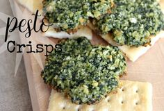 A fun way to serve pesto as an appetizer! Dollops of this pesto mixture are baked, which mellows the garlicky bite and gives the rounds a toasty crunch. I include directions to blanch the basil, which I like to do to preserve the bright green of leaves. If the Pesto Crisps are not gobbled up right off the pan, they are great served with crackers or mini baguette slices.