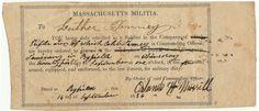 1836 Mass Militia enrollment document