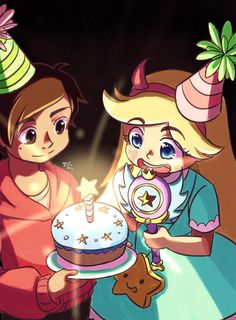 "catseatcakes: "" Svtfoe Wholesome Week Prompt DAY 2 BIRTHDAY Late for prompt 2 but I had to do this prompt!!!!! It's Star's birthday and Marco got her a cake with a special Star candle!!!!! """