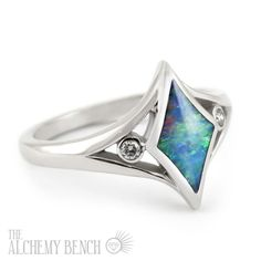 "Not one for a center diamond? ""Moonlit Sea - Galaxy"" Alternative Diamond and Opal Engagement Ring in White Gold 