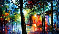 Sunlight in the drops oil painting by L.Afremov by Leonidafremov.deviantart.com on @DeviantArt