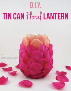 Tin Can Floral Lantern (made with plastic spoons!)  www.smartschoolhouse.com #DIY