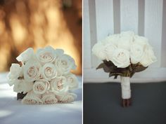 Simple white rose bouquet.  Maybe these roses would be cute for the bridesmaids with the blue feathers from the picture below? Just a thought:)