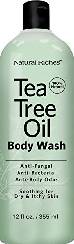 Antifungal Tea Tree Oil Body Wash Peppermint  Eucalyptus Oil Antibacterial Soap by Natural Riches 12 oz Helps Athletes Foot Eczema Ringworm Toenail Fungus Jock itch Body Itch Body Odor  Acne >>> You can find more details by visiting the image link.