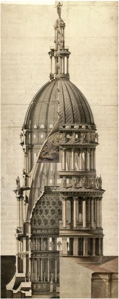Architecture - Cross-Section of the dome of the Basilica of San Gaudenzio designed by Alessandro Antonelli Architecture Baroque, Architecture Design, Plans Architecture, Classic Architecture, Architecture Drawings, Historical Architecture, Ancient Architecture, Beautiful Architecture, Basilica Architecture