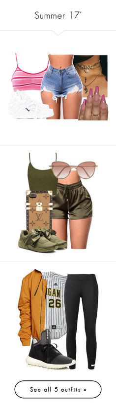 """Summer 17'"" by kalienajb on Polyvore featuring Fila, Topshop, Louis Vuitton, Puma, Cutler and Gross, 21 Men, adidas, Dsquared2, M2Malletier and NYX"